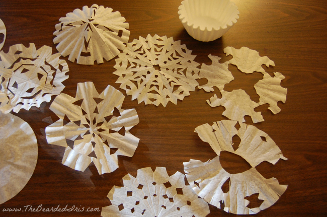 Coffee Filter Snowflakes at The Bearded Iris
