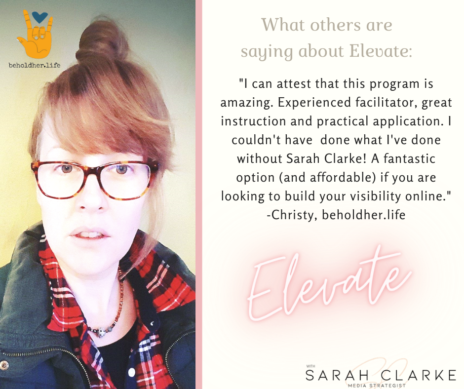 Elevate Business Program testimonial from client Christy of beholdher.life Recommends the program