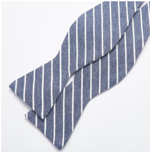 charcoal stripe bow tie close