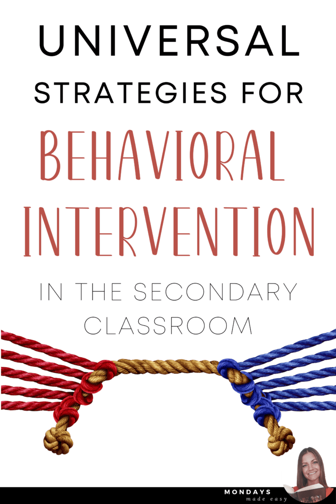 Universal Strategies for Behavioural Intervention in the Secondary Classroom