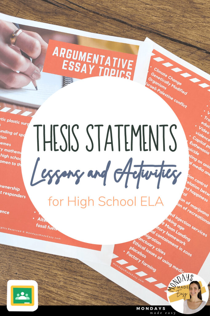 Thesis Statement Lessons and Activities for High School ELA