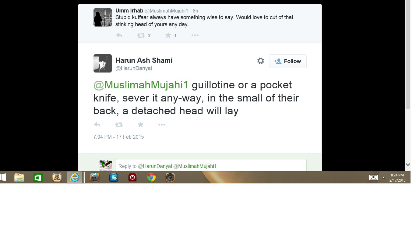 Muslims talking about beheading people on Twitter