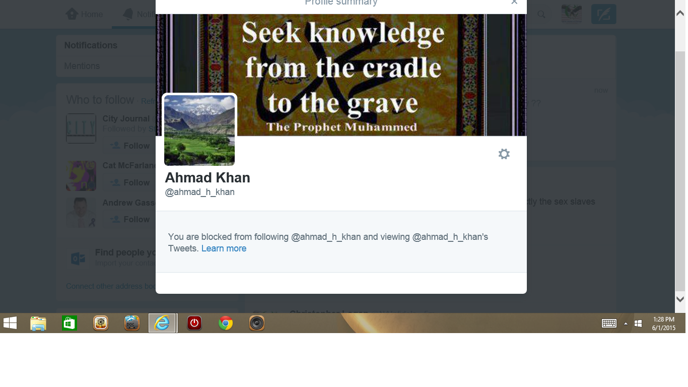 Blocked by 3 Ahmad Khan
