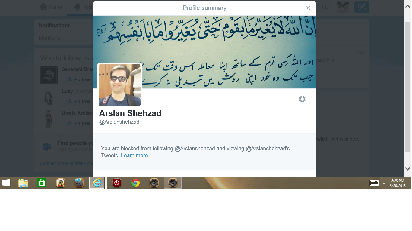 Blocked by 3 Arslen Shehzad