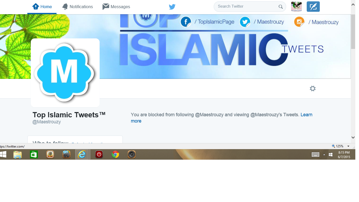 Blocked by 3 Top Islamic Tweets two