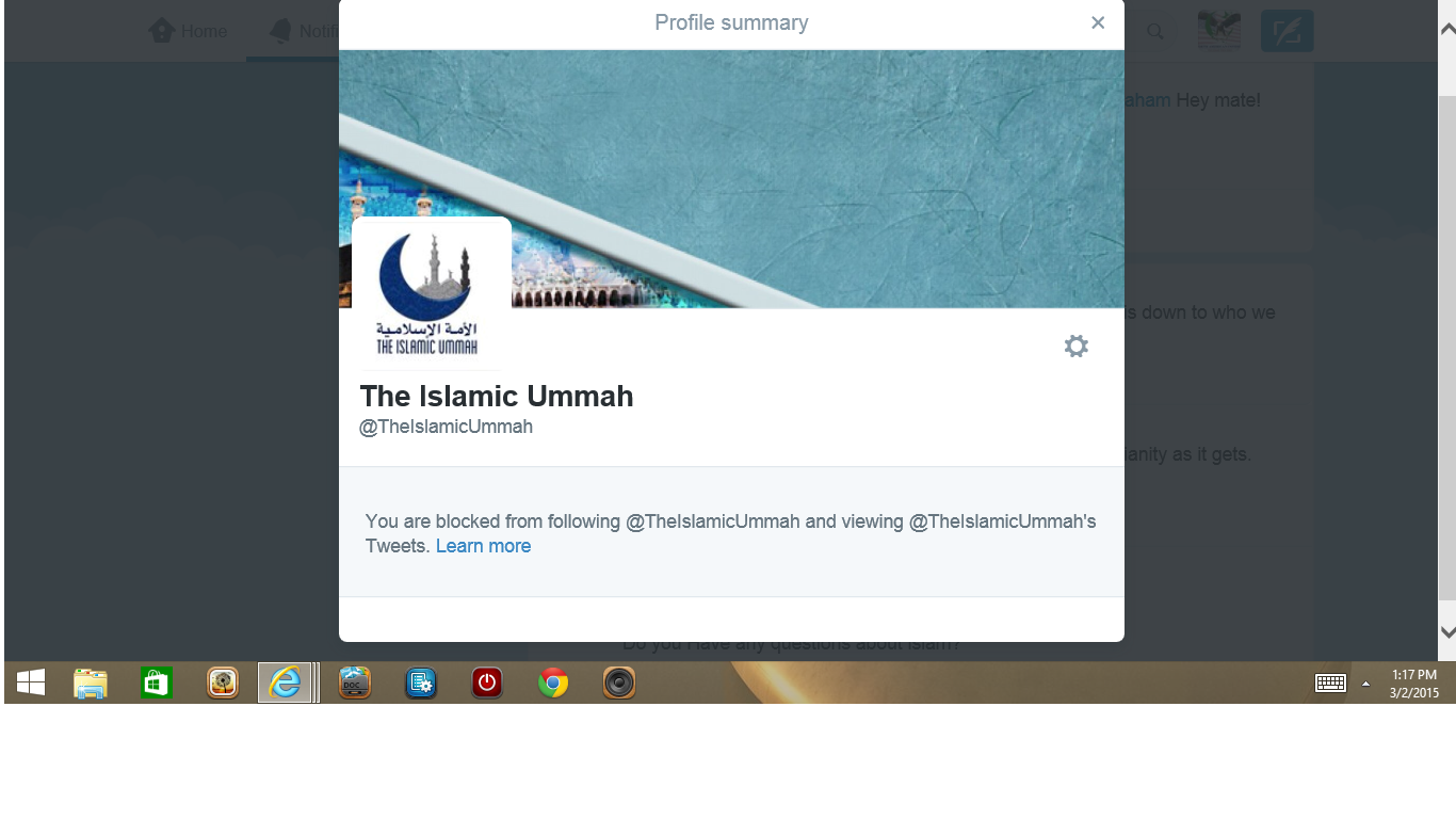 Blocked by Islamic Ummah