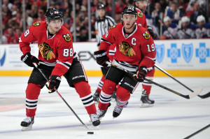 Patrick Kane (left) and Jonathan Toews are both All-Star staples in a stacked starting lineup that will continue to lead the Hawks to the playoffs.