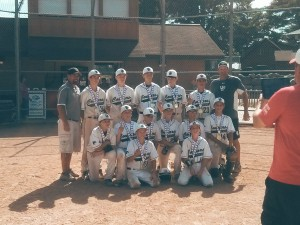 Members of the Upper Deck Cougars 13u team pose for a picture after their tournament win in Wisconsin Dells. Pictured front row from left to right: McKay Doran and Anthony Lenza. MIddle row: Donnie Gravitt, Zack Plumley, Brett Stroube, Brendon Herrin, Zak Zaghloul, Joe DeHaan. Back row: Coach Lenza, Daniel Murczek, Josh Mrozek, Nolan Fasel, Jake Zorn, Jesse Torres, and Coach Doran.