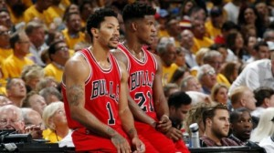 Although Jimmy Butler (right) has continued to play at a high level, Derrick Rose has proven to be an inconsistent commodity on an inconsistent Bulls team.