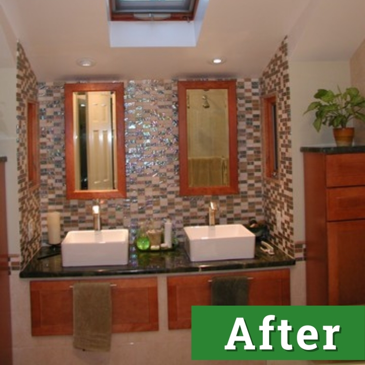 newly installed his and hers bathroom sinks
