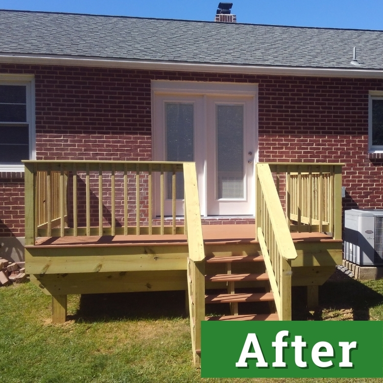newly installed stairs and a custom built deck lead up to double white doors