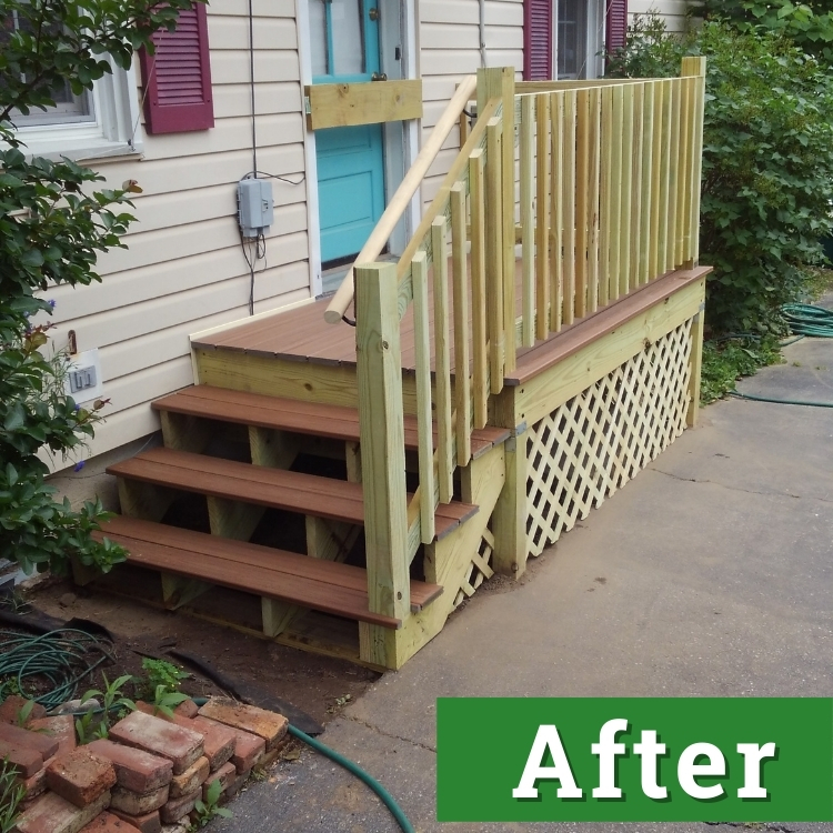 newly built wooden steps and railing lead up to the side of a house