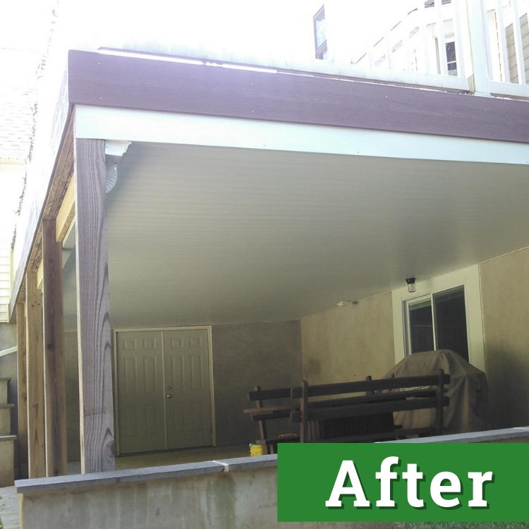 double doors stand underneath of a newly built deck
