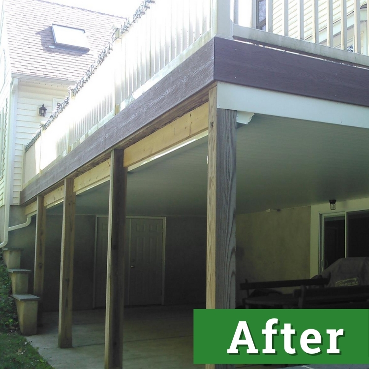 double doors and wooden beams stand underneath of a newly built deck