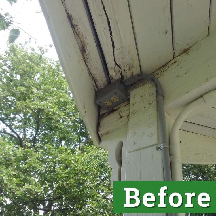 paint damage near an electrical outlet on a gazebo