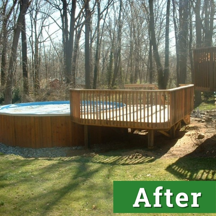 an above ground pool with a new custom built pool deck