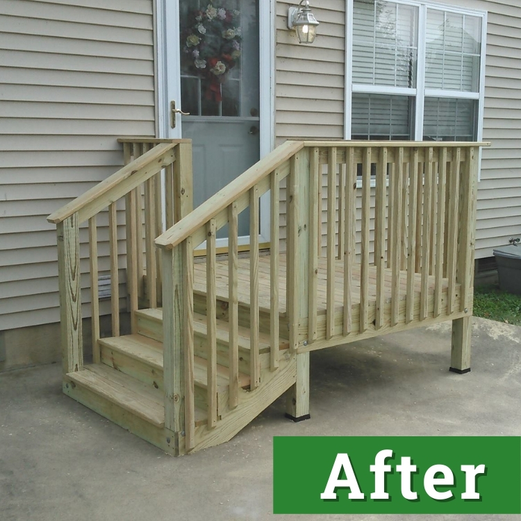 a small newly built deck rests on concrete next to a house