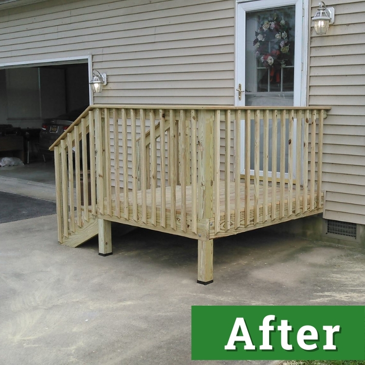 a small newly built deck with wooden slats