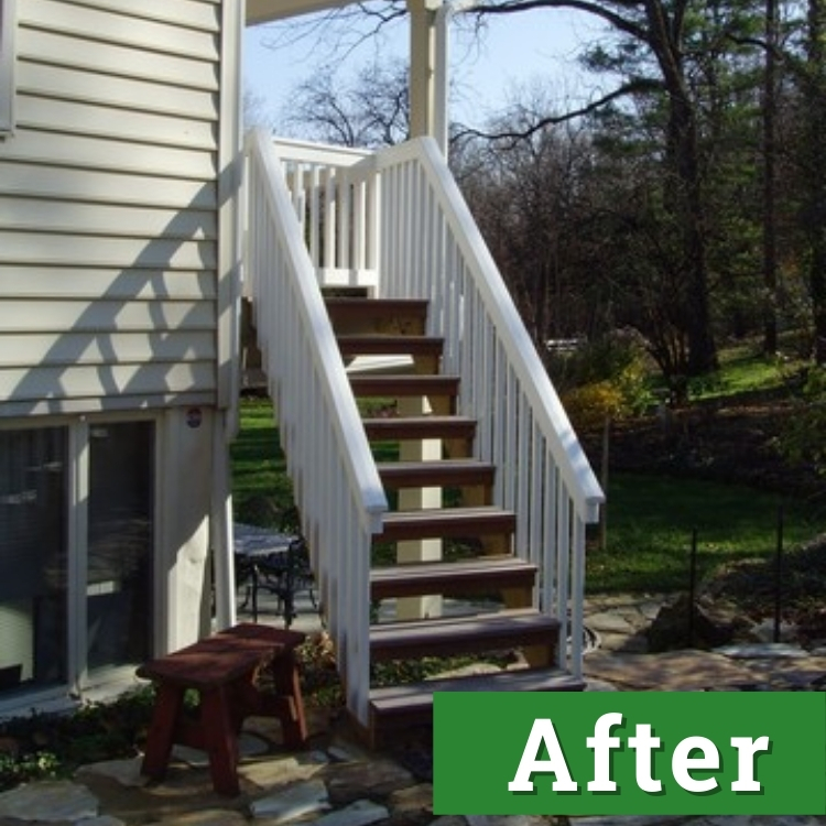 wood stairs with a white railing