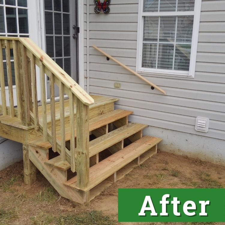 a newly built wooden set of stairs