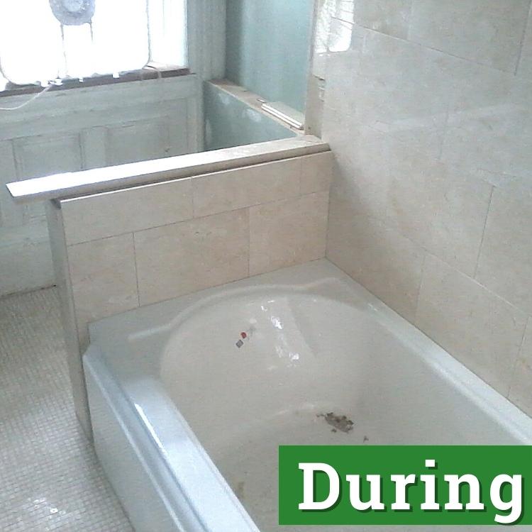 a bathroom under remodeling