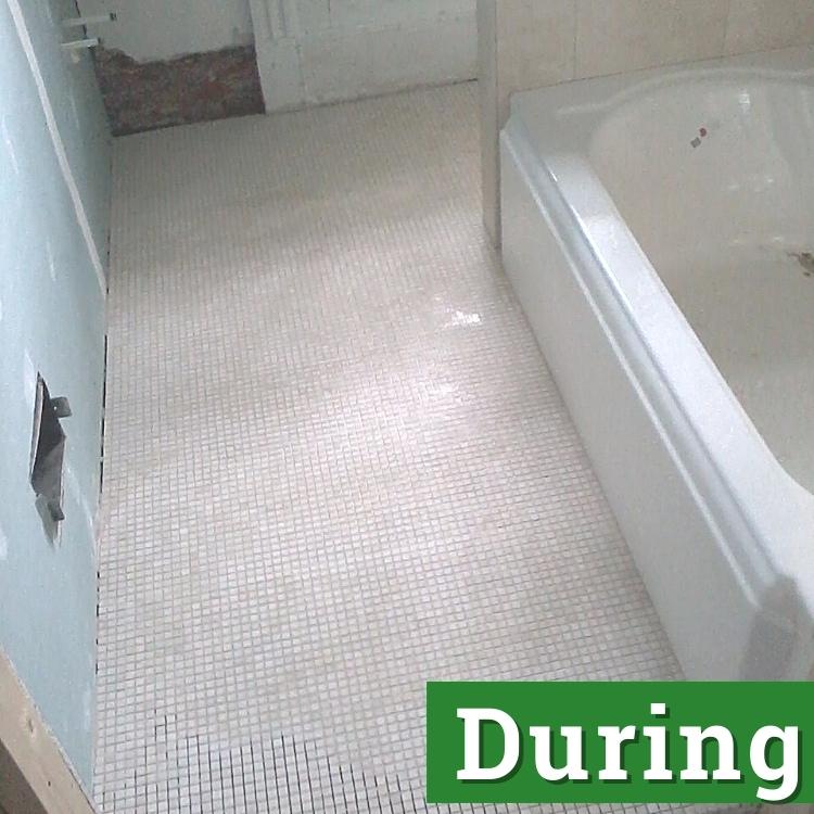 a bathroom under renovation