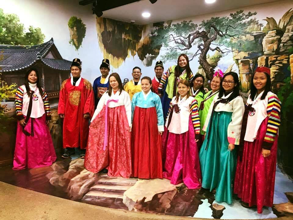 Ellcad Team trying on traditional Korean costumes