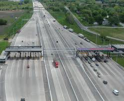 Highway with toll booths