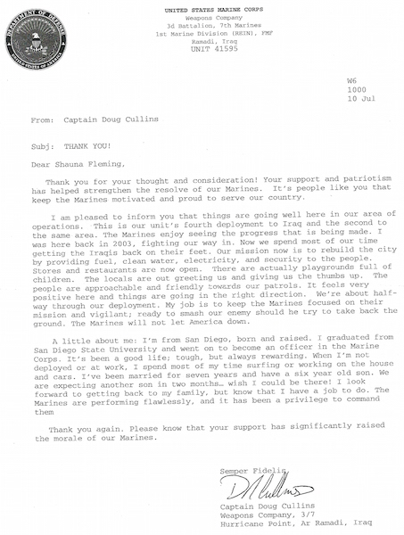 Letter From A Marine Corps Captain