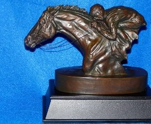 RACEHORSE AND JOCKEY TROPHY SCULPTURE