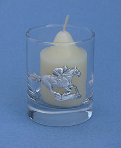 RACEHORSE AND JOCKEY VOTIVE CANDLE