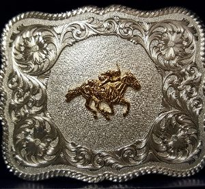 HORSE RACING STERLING SILVER BELT BUCKLE