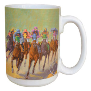 HOMESTRETCH HORSE RACING MUG