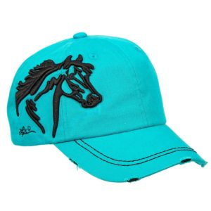 Embroidered Horse Head Cap Turquoise