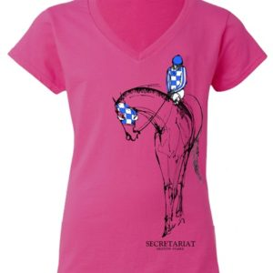 Secretariat Ladies V-Neck Tee Hot Pink