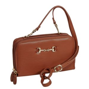 Snaffle Bit Handbag-Zip Wallet Brown
