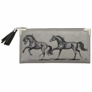 Galloping Horses Zip Wallet Grey