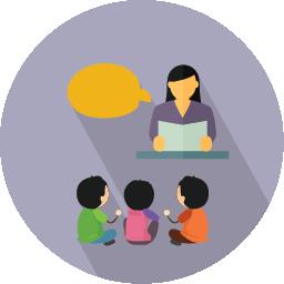 Teacher talking to children