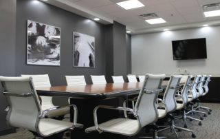 Conference room with high end, modernist interior design at the WiFi Center