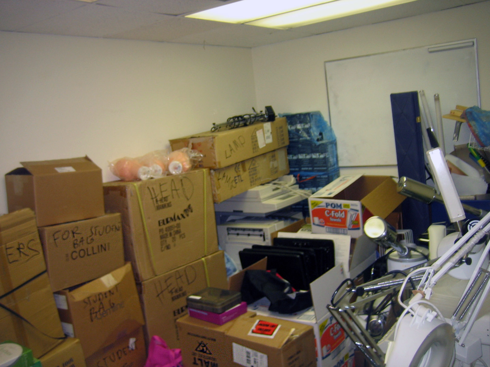 Boxes and office supplies in storage