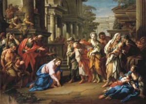 woman caught in adultery sebastiano conca 1741