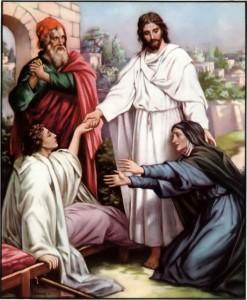 Jesus raises the widow of Nain's son Luke 7:14-15