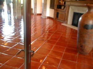 15 x 15 clay round edge Tiles Stained
