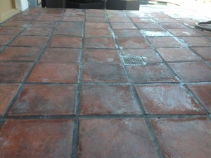 High pressure washed patio