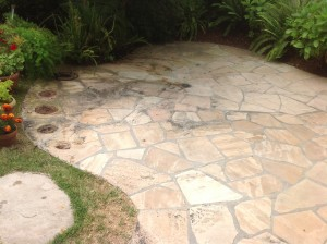 flagstone patio dirty