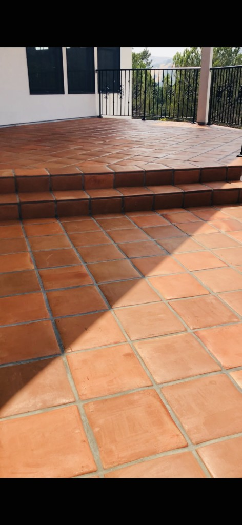 Outdoor cleaned terracotta tiles