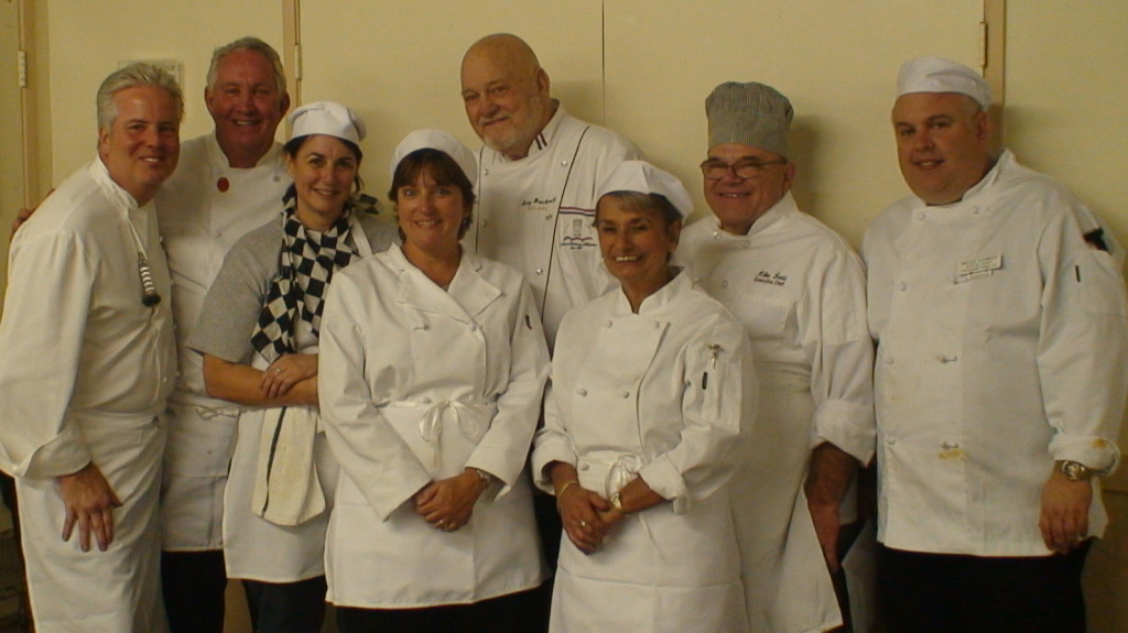 From left to right: Chef William Carter, and assisting chefs: Tom Hartin, JB, Catherine Koeritz, Chef Harry Brockwell, Sally Claunch, Chef Mike Lodi and Brock Younker