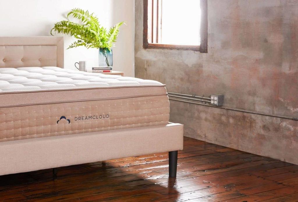 dreamcloud mattress on a dreamcloud frame