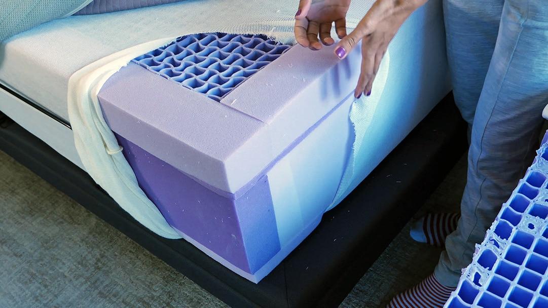 New Purple.3 mattress next to original purple mattress