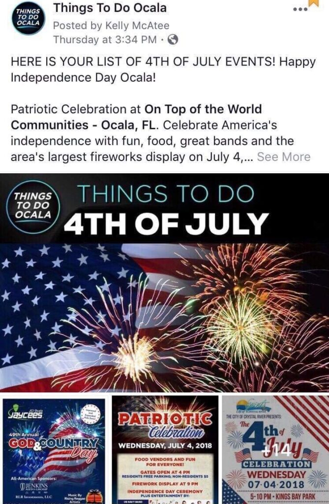 Facebook screenshot of 4th of July events for promoting 24 ad placement.